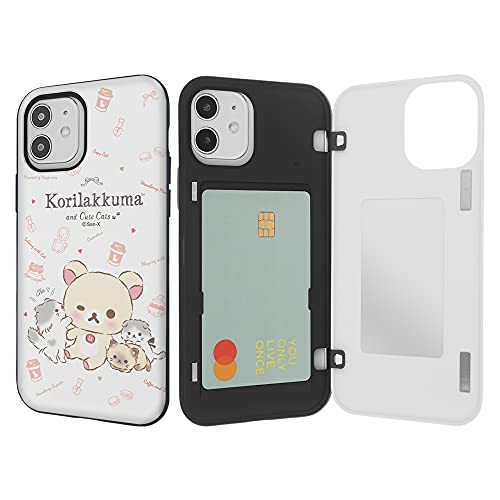 Compatible with iPhone 12 Pro/iPhone 12 Case (6.1inch) Rilakkuma Card Holder Magnetic Door Protective Dual Layer Bumper Sturdy Back Cover with Mirror - Korilakkuma Cat
