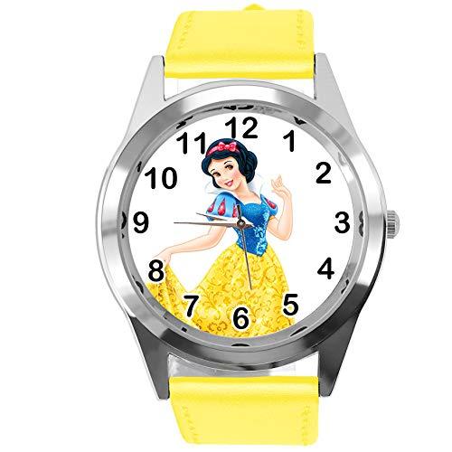 Taport® Montre à quartz ronde en cuir jaune pour les fans de princesse Blanche-Neige