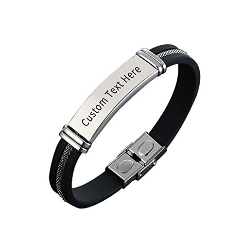 Leather Bracelet Customised for Men & Women Black Braided 22.5cm Engraved Your Name, Word, Letter Bangle for Dad Friend Partner