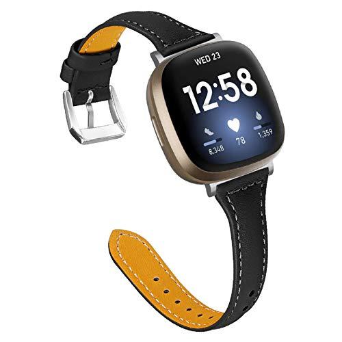 MVRYCE Armband Kompatibel für Versa 3, Slim Echtleder Armband 5,5