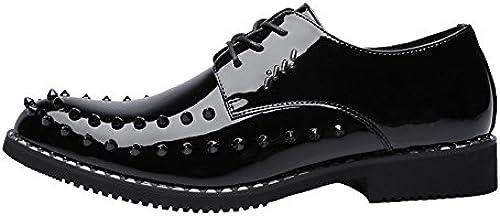 CHENDX Schuhe, Herren Punk Style Breathable gefütterte Oxfords Schuhe Glatte PU Leder Prom Loafer Lace Up mit Nieten (Farbe   Schwarz Größe   44 EU)