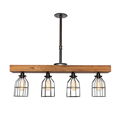 West Ninth Vintage Pendant Farmhouse Chandelier Fixture – Fayette Wood Beam Light – Rustic Lighting for Kitchen Island…