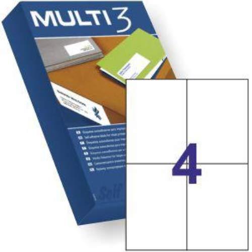 Etiquetas adhesivas Multi3 DIN A-4 105 X 148 mm. Caja de 500 hojas 2000 etiquetas referencia 10531