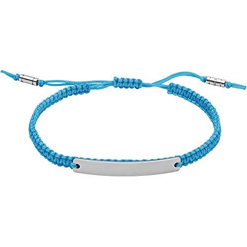 Fossil JF03400040 Men's Fabric Bracelet ID Bracelet Neon Blue