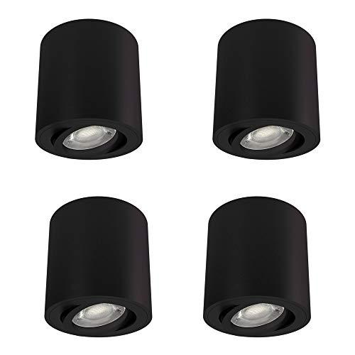 4 Stück linovum CORI Aufbauspot schwarz & schwenkbar im Set - runde Spot Deckenleuchte Aufbau geeignet für GU10 & LED Module