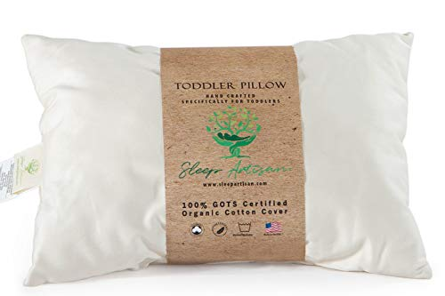 """Toddler Pillow for Sleeping - GOTS Certified Organic Cotton Cover, Machine Washable and Hypoallergenic, 13"""" x 18"""" Small Pillow for Travel - Made in USA by Sleep Artisan"""