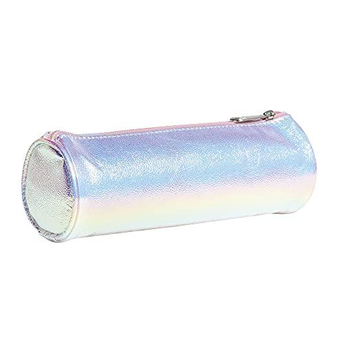 Exacompta - 994891E - Trousse / Fourre-tout rond - Matière irisée avec de jolis reflets - 22 cm x 7 cm - Collection Ariel - Coloris Perle