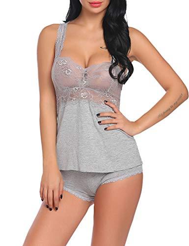 Damen Schlafanzug Nachthemd Kurz Pyjama Shorty Spitzen Nachtwäsche 2-Teilig Negligee Dessous Set