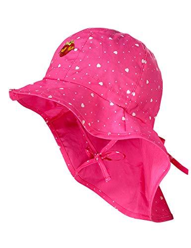 maximo Baby-Mädchen Nackenschutz Mütze, Mehrfarbig (Pink Rose-Herzen 64), (Herstellergröße: 49)