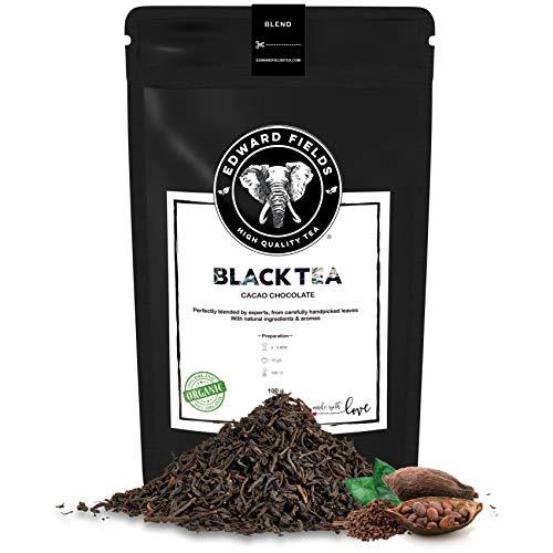 Edward Fields Tea ® - Té negro orgánico a granel con Cacao. Té bio recolectado a mano con ingredientes y aromas naturales, 100 gramos, India