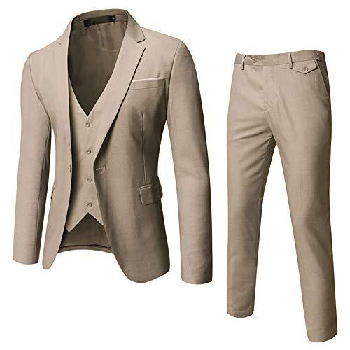 WULFUL Men's Suit Slim Fit One Button 3-Piece Suit Blazer Dress Business Wedding Party Jacket Vest & Pants (Light Brown, Smal)
