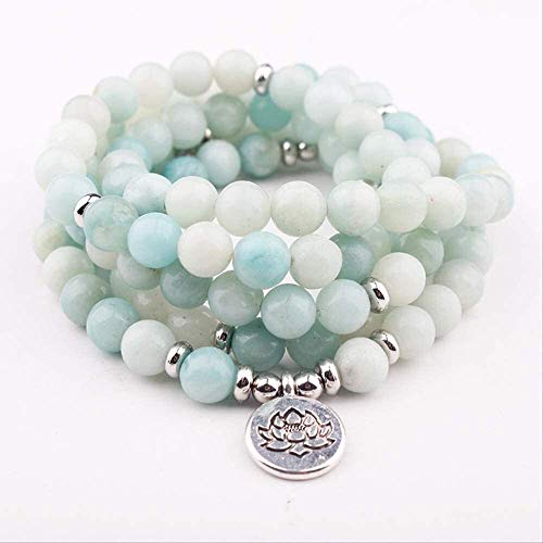 gujiu Women Men Yoga Om Chakra Prayer 108 Beads Mala Bracelet Tibetan Buddhism Jewelry 8Mm Stone Bracelet & Necklace