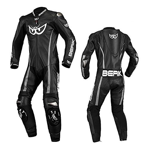 HBYMV Chaqueta de Moto para Hombre Traje Impermeable de Motocross-Negro Silver_S