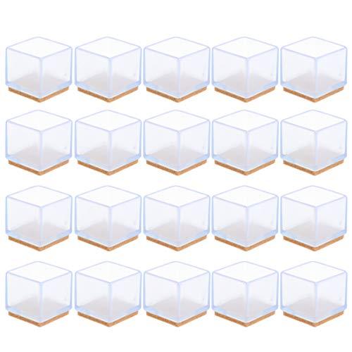 Upkoch - Funda protectora para muebles de silicona transparente con almohadillas para muebles de fieltro, cubierta para patas de mesa, para muebles cuadrados y evita el ruido de los arañazos