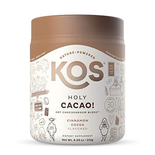 KOS Holy Cacao! Mushroom Hot Chocolate Mix, 30 Servings - Rich Cinnamon Cocoa Flavor - Organic Cacao Superfood Powder with Reishi, Cordyceps & Lion's Mane Mushrooms
