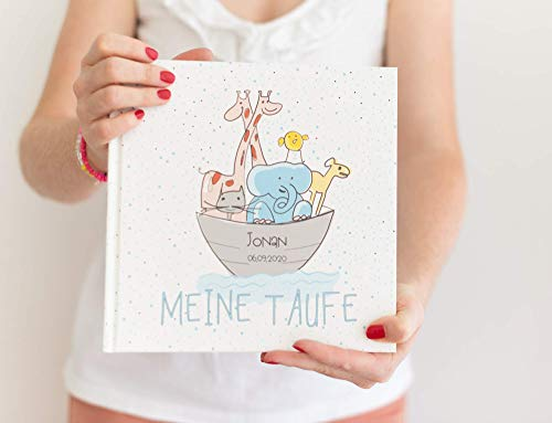 Gästebuch Taufe Mädchen oder Junge personalisiert - Arche Noah - Eintragalbum, Erinnerungsalbum -...