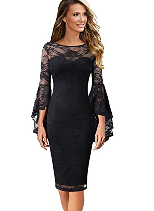 VFSHOW Womens Ruffle Bell Sleeves Business Cocktail Party Sheath Dress