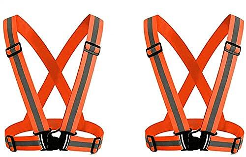 Seguridad Práctico 2 pack chaleco reflectante de seguridad ajustable, marcha reflectante ajustable engranaje de seguridad de seguridad engranaje deportivo para noche al aire libre (naranja) portátil