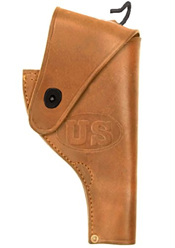 Ultimate Arms Gear Tactical Militaria U.S. Army Military WW2 WWII United States Embossed Reproduction Genuine Leather Smith & Wesson S&W .38 Revolver Open Top Leather Gun Victory Belt Holster-Tan