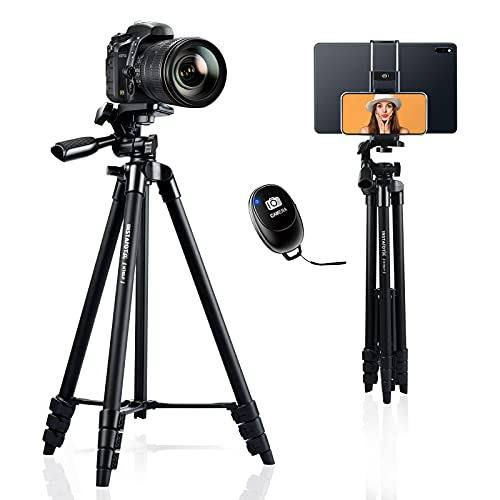 INSTAFOTO 60 Inch Camera Tripod with Remote Shutter, Tripod for Canon Nikon Camera & Phone & Tablet with Adapter, Carry Bag/Max Load 6.6 lbs