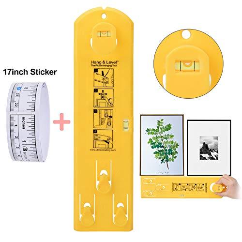 Willingood Picture Hanging Tool met Niveau Tool + 17,5 inch Liniaal Sticker, Markering Meting Gauge voor Beeld Frame & Foto Hangers Accessoires, Versier Schadevrij & Muur Markeervrij