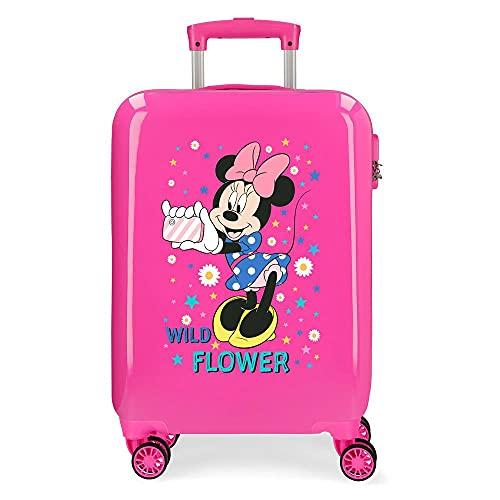 Disney Minnie Wild Flower - Valigia da cabina rosa 38 x 55 x 20 cm rigida ABS chiusura a combinazione laterale 34 2 kg 4 ruote doppie bagaglio a mano
