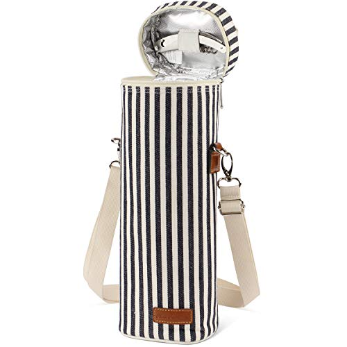 1 Bottle Insulated Wine Tote Carrier Bag Travel Padded Wine Cooler with Corkscrew Opener and Adjustable Shoulder Strap, Perfect Wine Lover's or Wedding Gift-Stripe