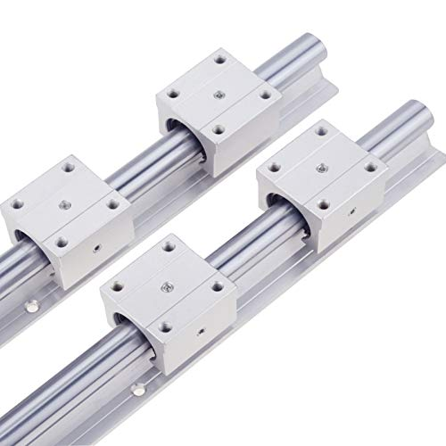 Linear Rail 2PCS SBR16-500MM Linear Guide 2 Linear Guide Rails and 4 Square Type Carriage Bearing Blocks,CNC Rail Kit,Linear Rails and Bearings Kit Automated Machines and Equipments