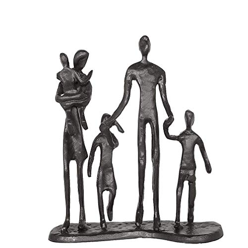 Aoneky Estatua Familiar de Metal - Figura Decorativa de Madre Padre Hijo Hija, Escultura Moderna Abstracta, Decoración del Hogar Casa Oficina, Figura Decorativa de Familia de 5, Negro