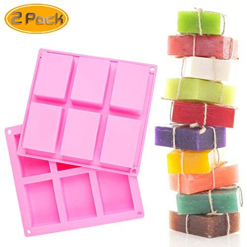 6 Cavity, silicone-zeep, rechthoekige siliconenvorm, zeepvorm, zeepvorm, bakje, pannen, cake, bakken, chocolade, biscuit, ijsblokjes, doe-het-zelf handwerk