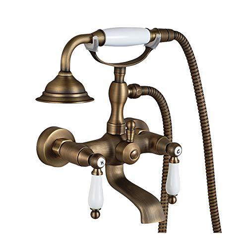 Tan Messing Dusche Badewannenarmatur Retro Badewanne Wasserhahn Antik Duschbrause Zweigriffmischer mit Keramik Stil Handbrause