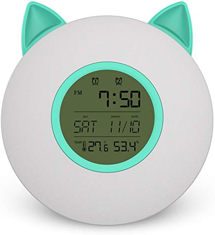 KXDN LED Wecker Radio Wecker Musik wacht auf Bunte Lichter Temperatur Feuchtigkeit Anzeige Passend für Schlafzimmer Studie,3