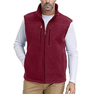 Men's Windproof Soft Fleece Vest Outdoor Full Zip Sleeveless Jacket with Pockets