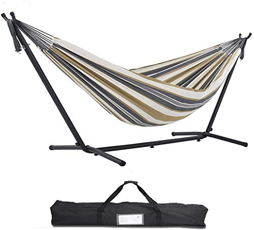 FORSTEEL 9ft Portable Hammock Stand, Universal Heavy Duty Steel Stand with Hammock, for Outdoor Patio with Carrying Case 450 lbs Capacity (Desert Stripes)