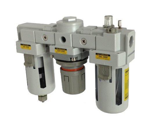 PneumaticPlus SAU4000M-N04G Three-Unit Combo Compressed Air Filter Regulator Lubricator FRL, Air Preparation Unit 1/2