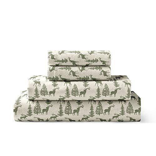 Brielle 100-Percent Cotton Flannel Sheet Set, Queen, Deer Ivory