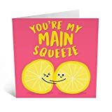 Central 23 - Cute Anniversary Card - 'Main Squeeze' - Sweet Pun Card - Relationship Card - Husband Wife Girlfriend Boyfriend - Comes with Fun Stickers