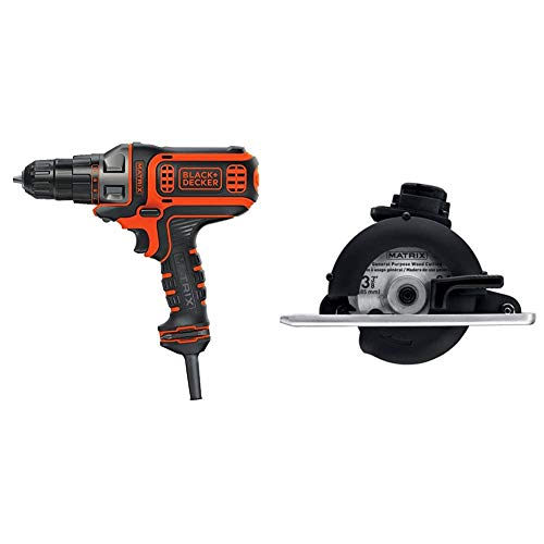 BLACK+DECKER Electric Drill, 3/8-Inch, 4-Amp with Trim Saw Attachment (BDEDMT & BDCMTTS)