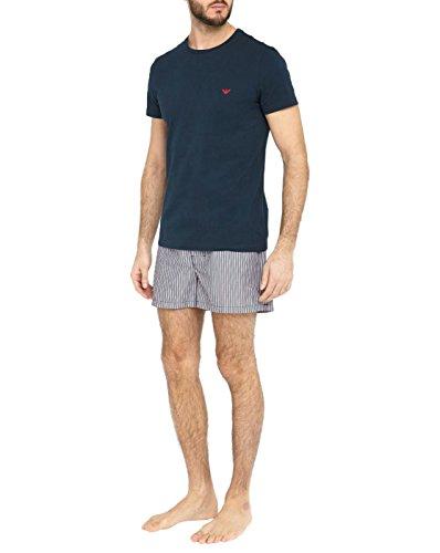 Emporio Armani Underwear Herren 1113396P576 Zweiteiliger Schlafanzug, Mehrfarbig (RIGA MARIN/BCO/Rosso 11235), Medium