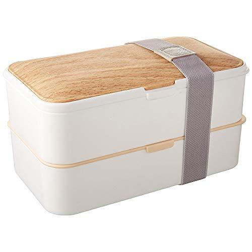 PuTwo Bento Box Fiambreras Bento Caja Bento Caja Almuerzo de 2 Niveles con Juego de Cubiertos Box Lunch a Prueba de Fugas Microondas, Congelador, Apto para lavavajillas - 1200 ml, Blanco de Ba
