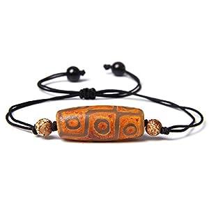 Natürliche Tibetische Dzi Agat Perlen Geflochtenes Armband Geometrischer Stein Schwarzes Seil Verstellbares Charm Armband Schmuck Unisex