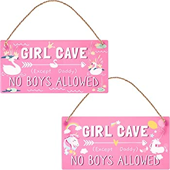 Girl Cave Sign Kid Room Signs Decorations Funny Girl Cave No Boys Allowed Sign Daughter Pink Waterproof High Precision Printing PVC Plastic Decoration for Bedroom Room Wall Decor 12 x 6 Inch