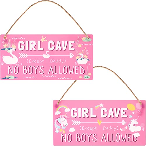 Girl Cave Sign Kid Room Signs Decorations Funny Girl Cave No Boys Allowed Sign Daughter Pink Waterproof High Precision Printing PVC Plastic Decoration for Bedroom, Room, Wall Decor, 12 x 6 Inch
