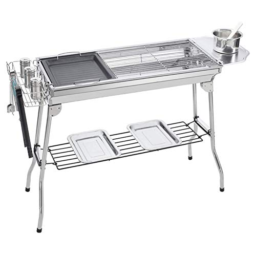 WAHHW Outdoor Houtskool Vouwen Barbecue Grill, Draagbare Barbecue Houtskool Grill Opvouwbaar, Roker Grill voor Outdoor Koken Camping R Tuin BBQ Grill Party