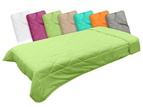 npluseins Leichtsteppbett in 3 Größen und in 7 modernen Farben, ca. 135 x 200 cm, Apfel