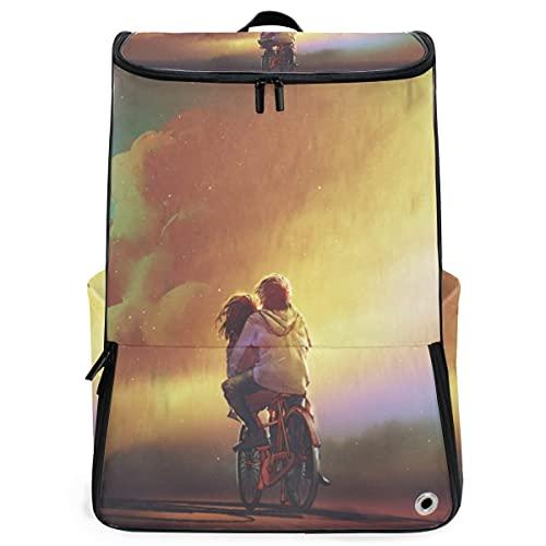 YUDILINSA Viaje Mochila,A la pareja le encanta andar en bicicleta contra,Universitaria Mochila,Laptop Backpack con Compartimento para zapatos