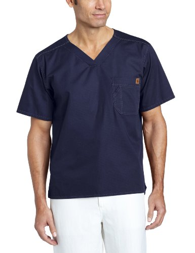 Carhartt Men's Solid Ripstop Utility Scrub Top, Navy, Large