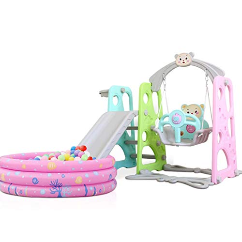 Toddler Slide and Swing Set 4 in 1 Baby Climber Slide Playset w/ Basketball Hoop Ball & Pool & Music Kids Playground for Indoor Outdoor Backyard Best Birthday Gifts for Boys Girls Children's Toys