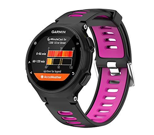 WIIKAI Bracelet Compatible avec Forerunner 735XT Réglables Replacement Band pour for Garmin Forerunner 735XT,630,620,235,230,220 Wristband Bracelet de Montres(Noir + Violet).