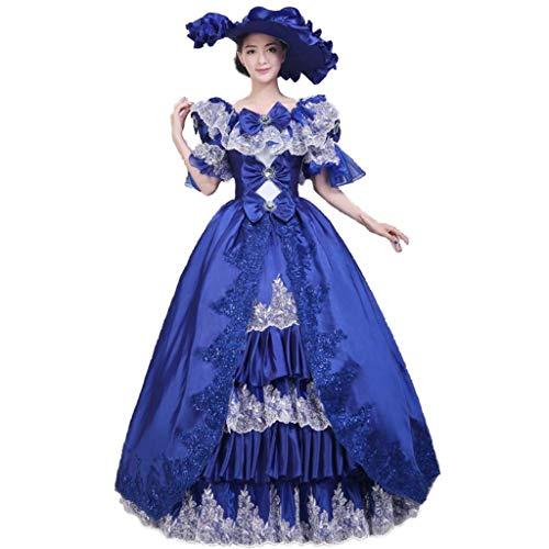 QJXSAN Vestido Medieval de Las Mujeres, señoras Medievales Victoriano Vestidos Corte Palacio Real de Vestuario de época de la Mascarada (Color : Blue, Size : M)